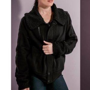 Peloton Stealth Moto Fur Jacket Black Large NEW!